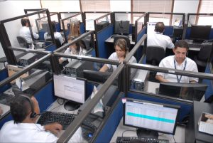 Employees in a call center